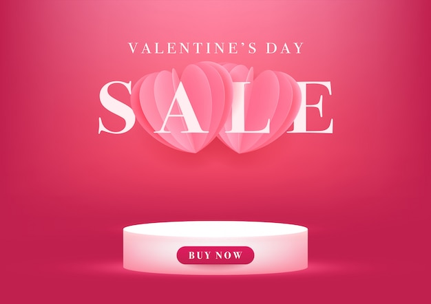 Empty podium with valentine's day sale banner