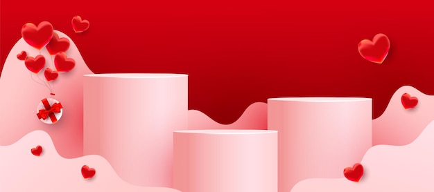 Empty podiums, pedestals or platforms with paper cut wavy shapes, red love balloons and gifts on red background. minimal scene with geometrical forms for product presentation.