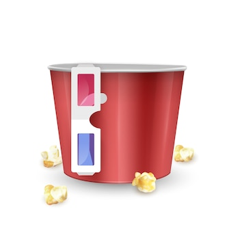 Empty popcorn bucket and  glasses on white background, realistic   illustration