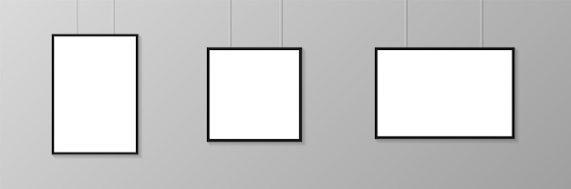 Empty poster frames hanging