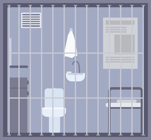 Empty prison, jail or detention center room with bed, toilet and sink and other facilities behind bars or grid