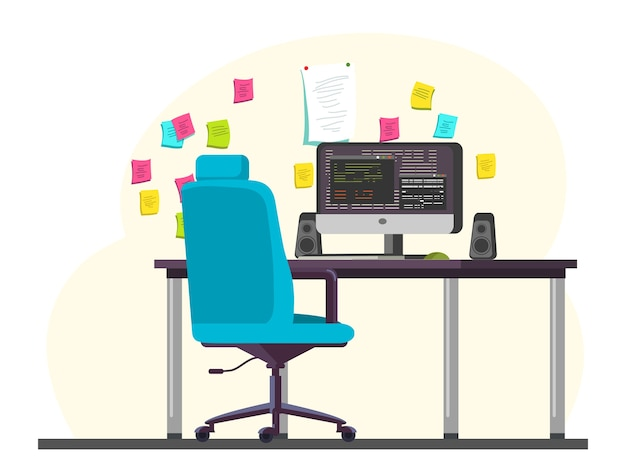 Empty programmer office room workplace with computer, speakers, keyboard on desk, comfortable chair, reminder colorful stickers hanging on wall, workstation, workspace interior illustration