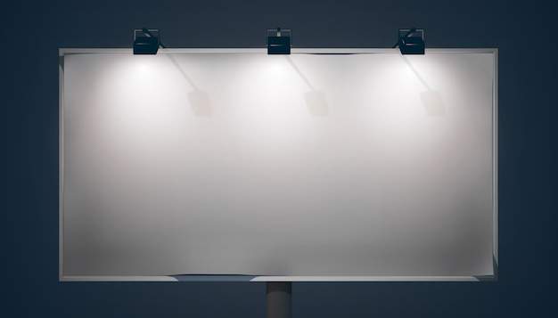 Empty promo horizontal billboard with lamps and metallic frame on dark background isolated