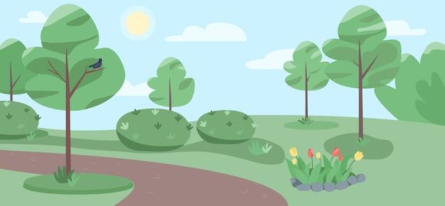 空の公園のフラットカラーイラスト。背景の木と美しい庭の2d漫画の風景。人のいない緑地での晴れた日。リラクゼーション、風光明媚な自然のための場所
