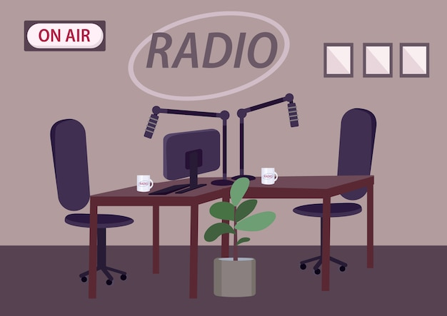 Empty radio studio  color  illustration