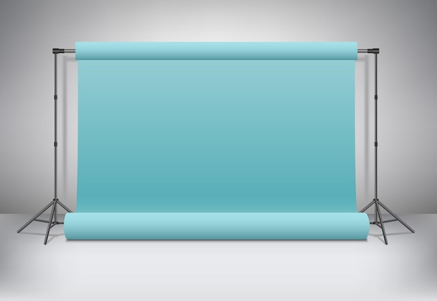 Empty realistic 3d photo studio mockup with blue or green paper background