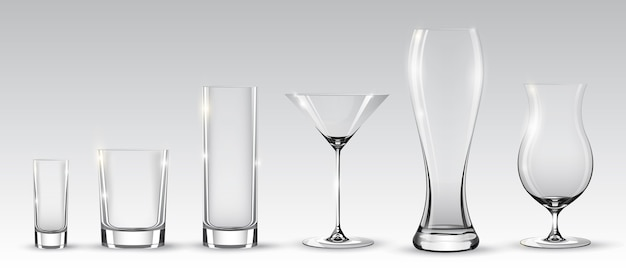 Empty realistic glasses set for different alcohol drinks and cocktails on gray background isolated