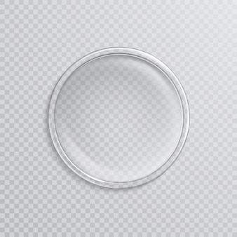 Empty realistic petri dish isolated on transparent.