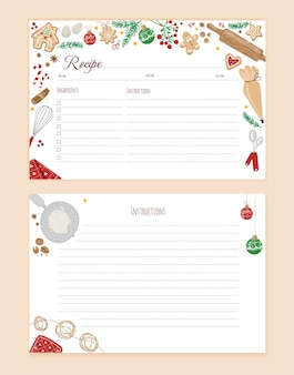 Empty recipe card template with colorful cooking utensils in christmasstylevector flat