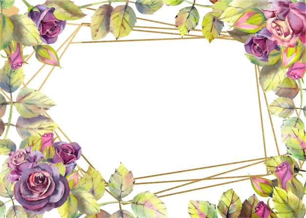 Empty rectangle dark roses, leaves.