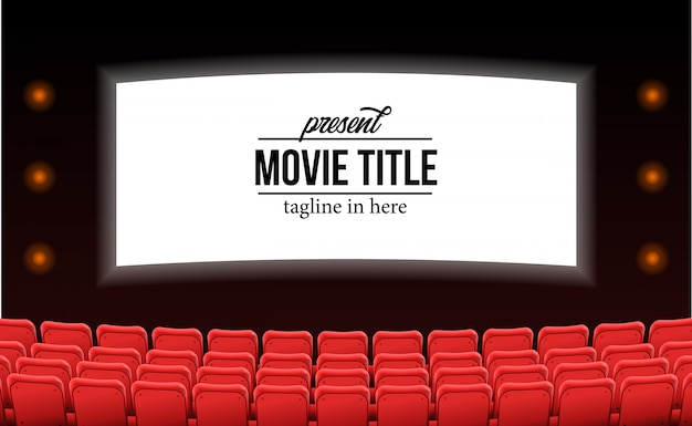 Empty red seats at the theater movie advertise film template concept