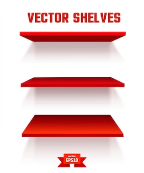 Empty red shelf. the elements of your design. vector illustration