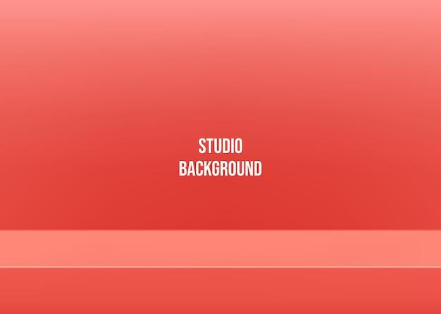 Empty red studio background for presentation