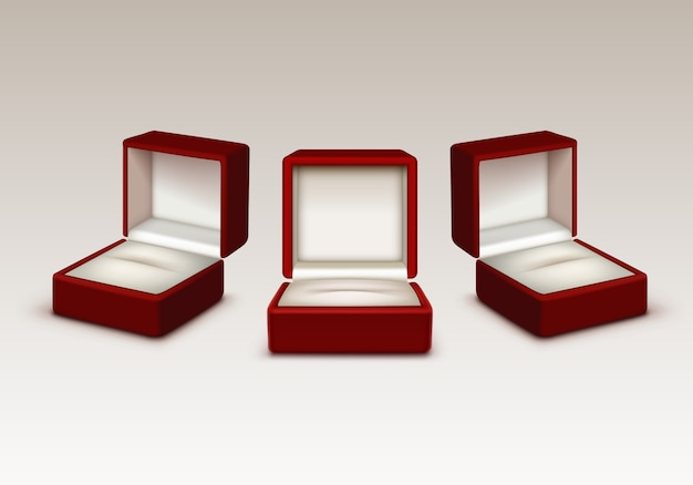 Empty red and white velvet opened gift jewelry boxes