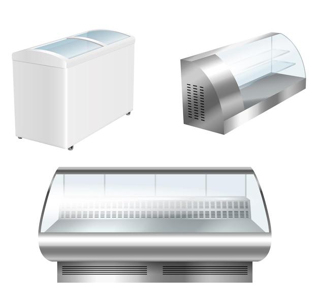 空の冷蔵庫ディスプレイショーケースセット。スーパーマーケットの食料品保管用のリアルな横型冷蔵庫。白い背景で隔離の3d空の冷凍庫。ベクトルイラスト