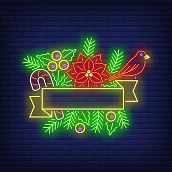 Empty ribbon frame, fir-tree twigs, poinsettia flower neon sign