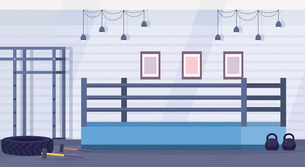 체육관 현대 싸움 클럽 인테리어 디자인 가로 평면 벡터 일러스트 레이 션에 훈련을위한 빈 링 권투 경기장