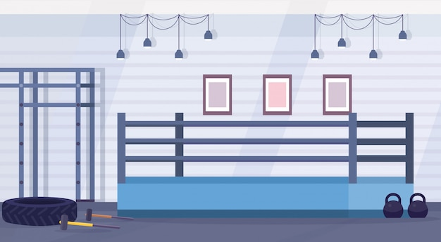 Empty ring boxing arena for training in gym modern fight club interior design horizontal flat vector illustration