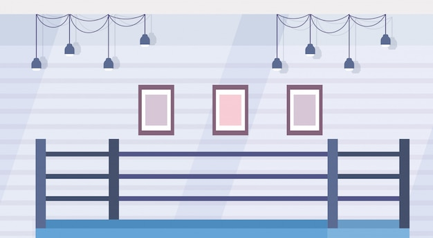 Empty ring boxing arena for training in gym modern fight club interior design horizontal flat