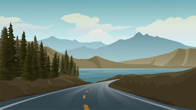 Пустая дорога на гору с озером и соснами