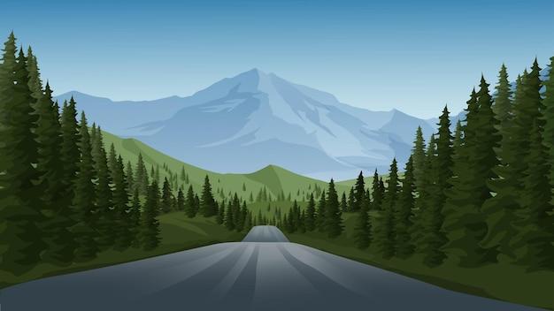 Пустая дорога в лесу с горой Premium векторы