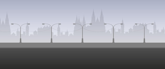 Empty road with city silhouette. city landscape in light gray colors. vector.