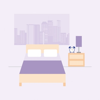 Empty room with bed and window with city view, flat style