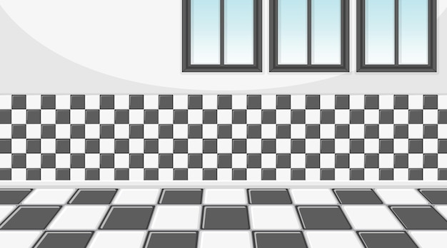 Empty room with checkered wall and tiles