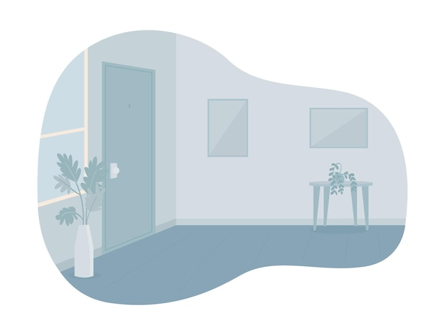Empty room with closed door 2d vector isolated illustration
