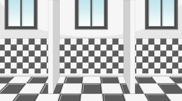 Empty room with cubicles in checkered pattern