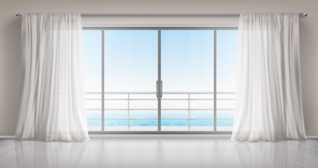 Empty room with glass door to balcony and curtains