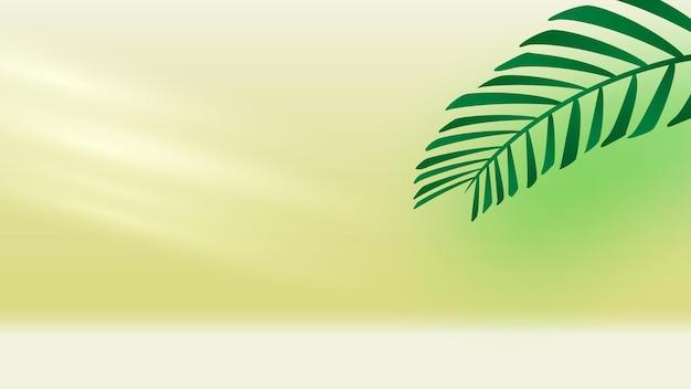 椰子の枝と太陽光線のある空の部屋ベクトル図