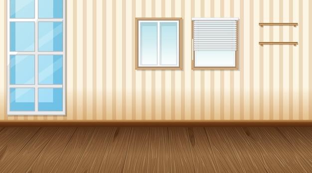 寄木細工の床とベージュの縞模様の壁紙と空の部屋