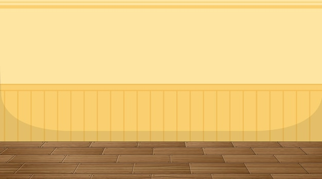 Empty room with parquet floor and yellow wallpaper