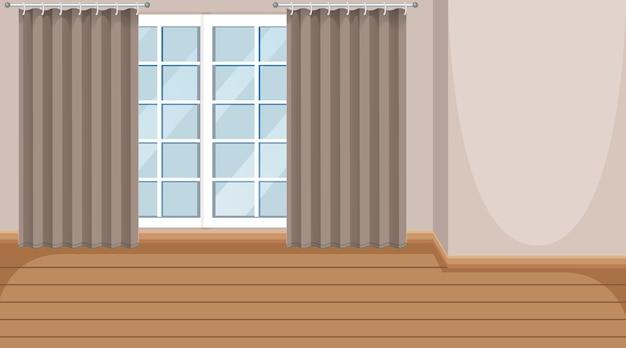 窓と木製の寄木細工の床の空の部屋