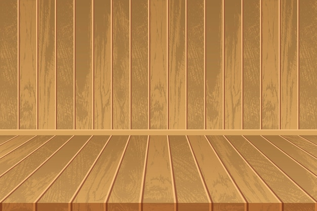 나무 바닥과 나무 벽 빈 방