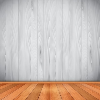 Empty room with wooden floor and wall