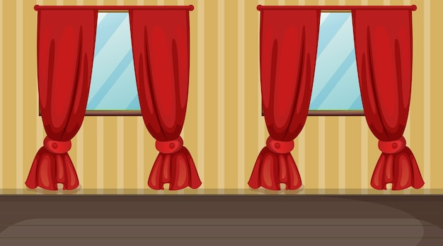 Empty room with yellow striped and red curtains
