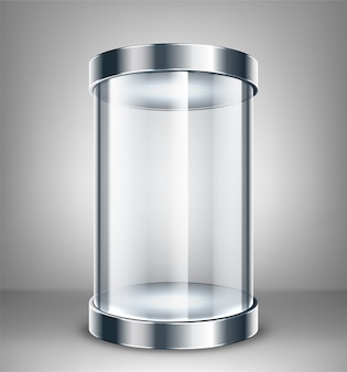 Empty round glass showcase for exhibit. glass exhibition spot for presentation.  illustration