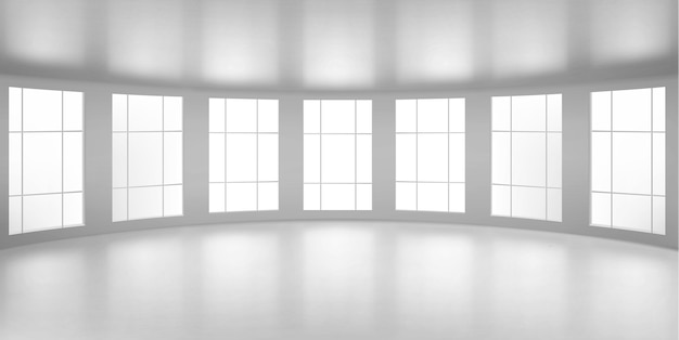 Empty round room, office with large windows, white ceiling and floor. internal interior structure of modern city architecture, inner design project visualization, realistic 3d illustration