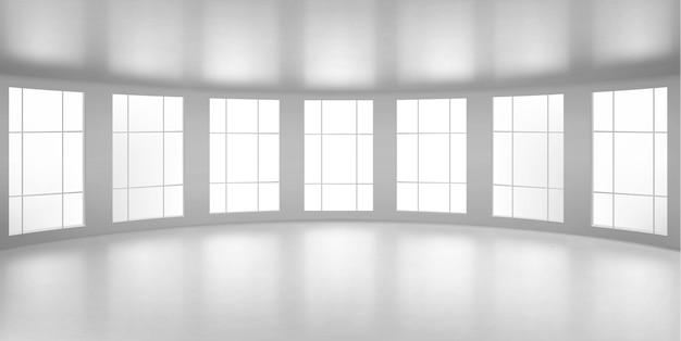 Stanza rotonda vuota, ufficio con grandi finestre, soffitto e pavimento bianchi. struttura interna interna dell'architettura moderna della città, visualizzazione del progetto di design interno, illustrazione 3d realistica