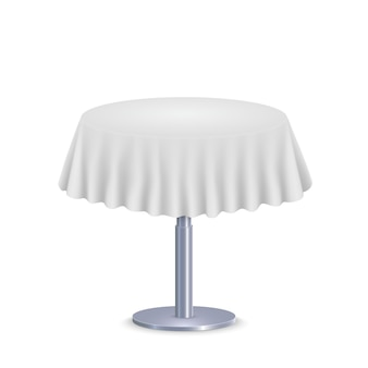 Empty round tablecloth on table isolated