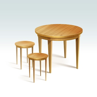 Empty round wood table with two chairs