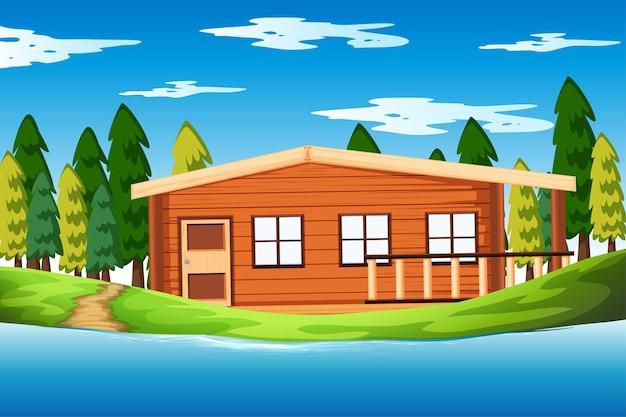 自然の中で大きな家のある空のシーン 無料ベクター