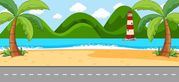 Scena vuota con paesaggio da spiaggia e strada lunga
