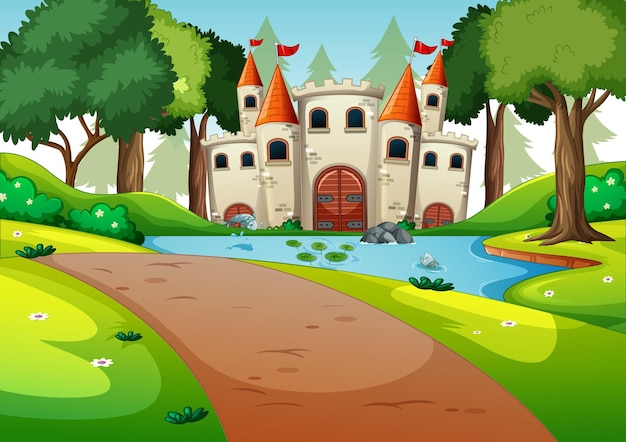Empty scene with castle in nature