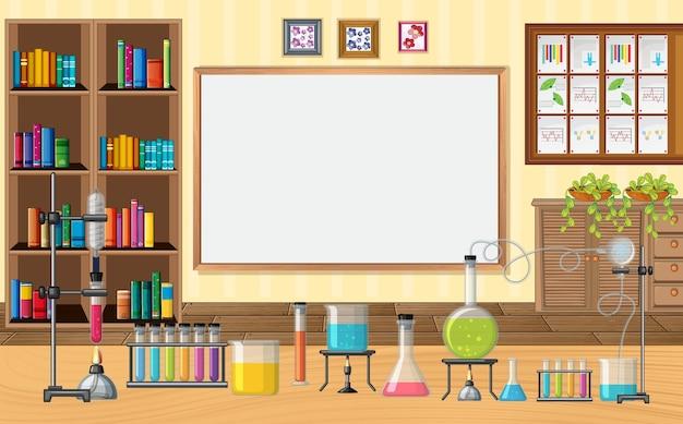 教室で実験用ガラス器具のある空のシーン