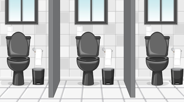 Empty scene with public toilet with cubicles