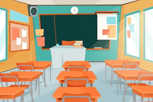 ビデオ会議のための空の学校のクラスの背景 Premiumベクター
