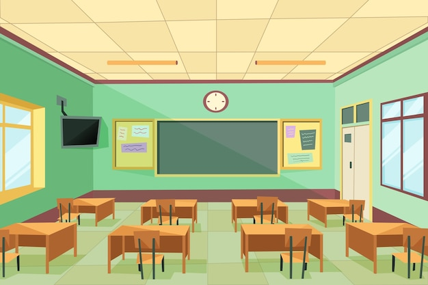 空の学校のクラス-ビデオ会議の背景